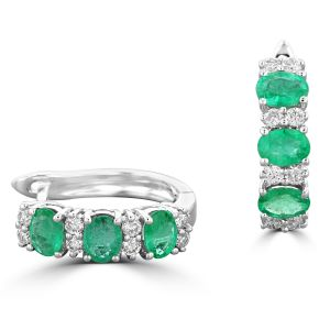 14K White Gold Oval Emerald And Round Diamond Earrings 2023797W