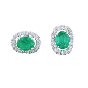 14K White Gold Oval Emerald Halo Earrings 2023828W