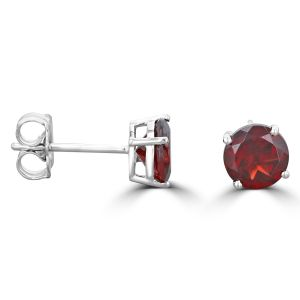 14K White Gold Round Garnet Stud Earrings 2092094WB