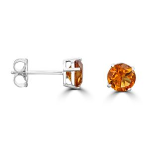14K White Gold Round Citrine Stud Earrings 2192094WB