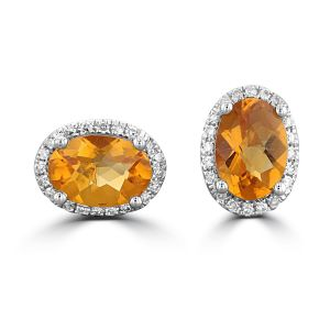 14K White Gold Oval Citrine Halo Earrings 2192717W