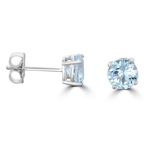 14K White Gold Round Aquamarine Stud Earrings 2202094WB
