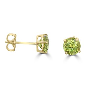 14K White Gold Round Peridot Stud Earrings 2222094YB