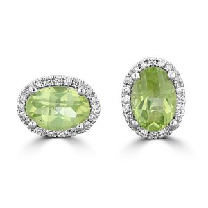 14K White Gold Oval Peridot Halo Earrings 2222717W