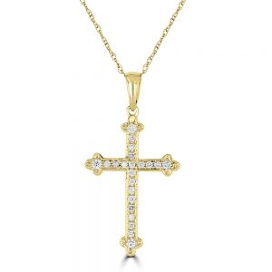 14k Yellow Gold Round Diamond Cross Pendant 3010413Y