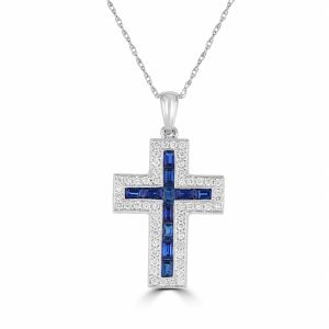 14k White Gold Sapphire And Diamond Cross Pendant 3043409W