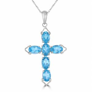 14k White Gold Blue Topaz Cross Pendant  3072052W