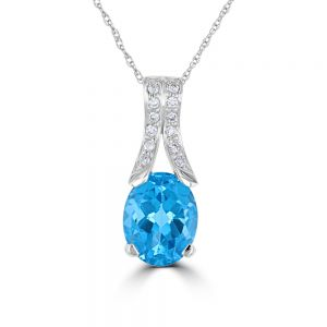 14k White Gold Oval Blue Topaz And Diamond Pendant 3072208W