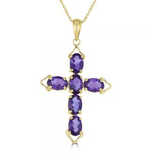 14k Yellow Gold Amethyst Cross Pendant 3082052Y