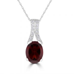 14k White Gold Oval Garnet And Diamond Pendant 3092208W