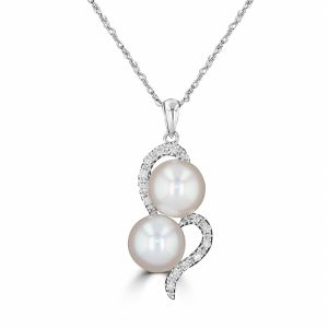 14k White Gold Freshwater Pearl And Diamond Pendant 3150138W