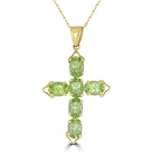 14k Yellow Gold Peridot Cross Pendant 3222052Y