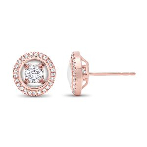 14K Rose Gold Diamond Stud Earrings With Halo