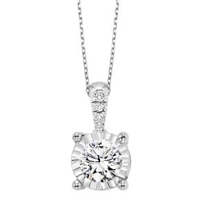 14K White Gold Diamond Pendant In An Illusion Mounting