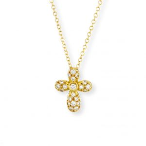 18k Yellow Gold And Diamond Cross N7439Y