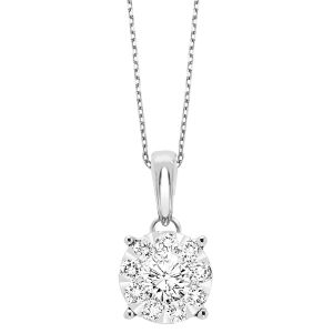 14K White Gold Round Diamond Necklace