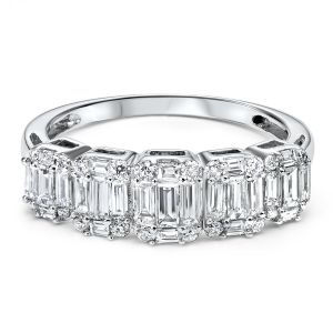 14K White Gold Five Stone Illusion Diamond Ring