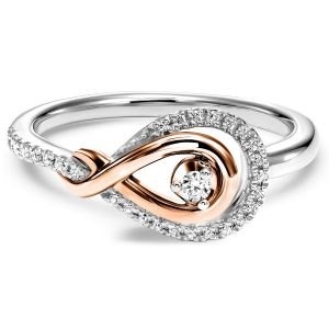 Rose Gold  + Silver Diamond Love Knot Ring