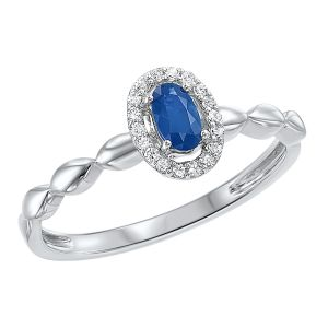 White Gold Oval Sapphire + Diamond Ring