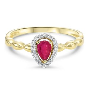 Yellow Gold Pear Shaped Ruby + Diamond Halo Ring
