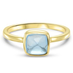 Yellow Gold  Cushion Cut Blue Topaz Ring