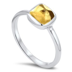White Gold Cushion Cut Citrine Ring