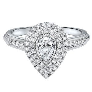 14K White Gold Pear Shaped Double Halo Diamond Ring